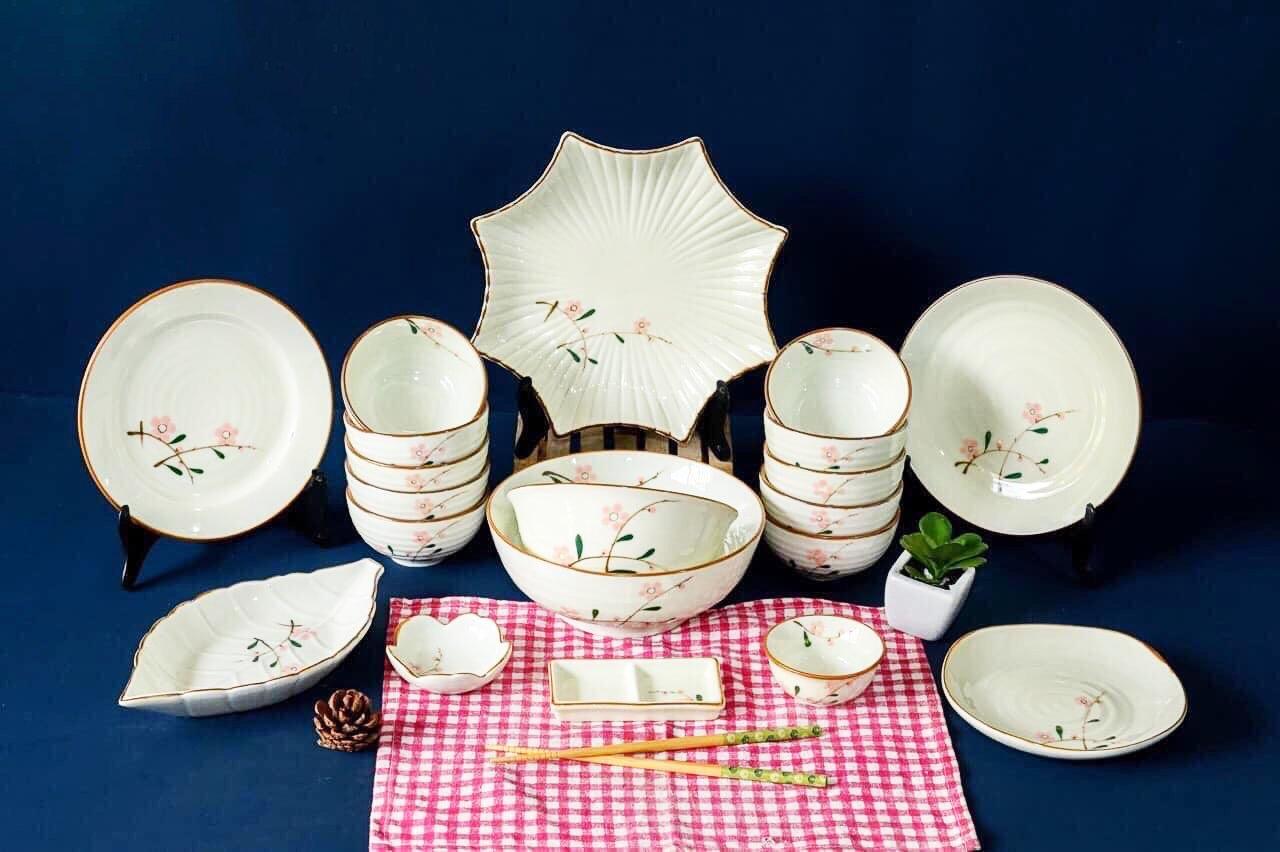 Bộ bàn ăn men sứ Bát Tràng