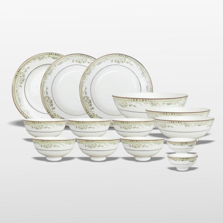 Bộ 12 sản phẩm dành cho bàn ăn viền kim xanh cao cấp
