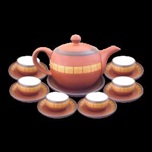 bộ trà hồng sa viền vàng