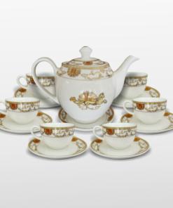 bộ trà cá ngựa viền vàng