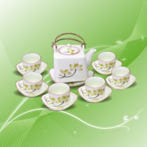 bộ trà sen vàng quai đồng