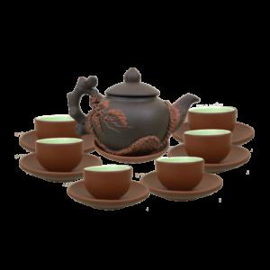 bộ trà tử sa đắp nổi