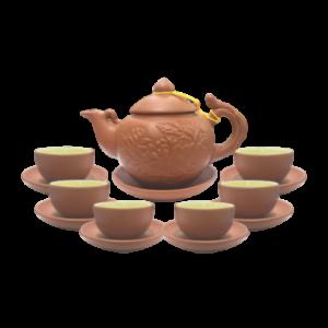 bộ trà tử sa khắc đắp nổi