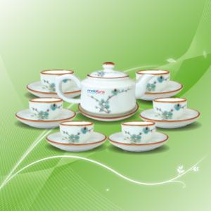 bộ trà vẽ đào xanh