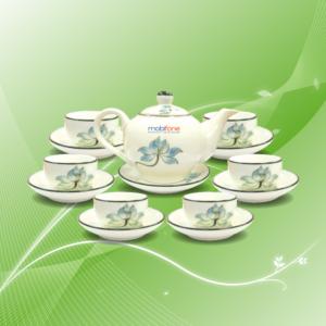 bộ trà vẽ sen xanh