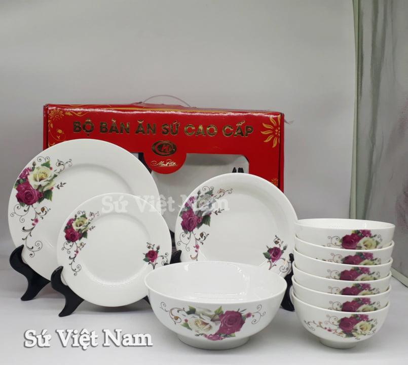 Bộ chén đĩa hoa hồng đỏ Minh Châu là người bạn đáng tin cậy của mọi gia đình