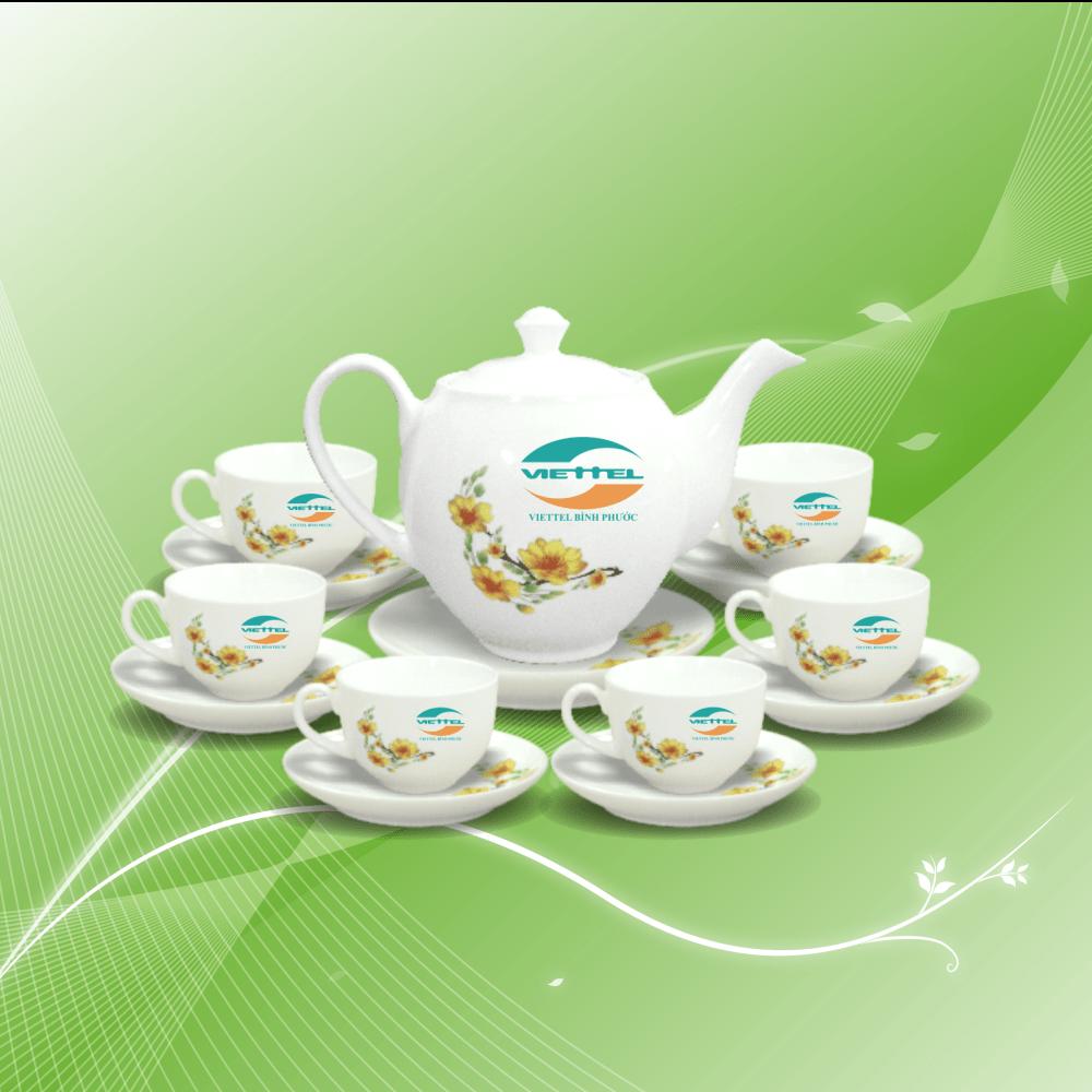 Bộ trà chén in logo Viettel đẹp mắt, ấn tượng