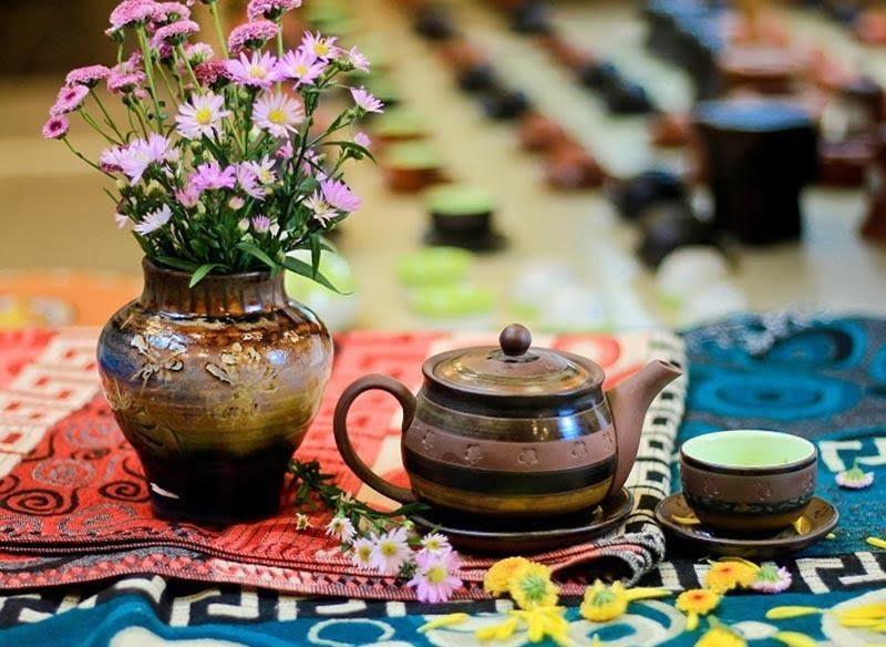 Bộ trà tử sa thổ cẩm