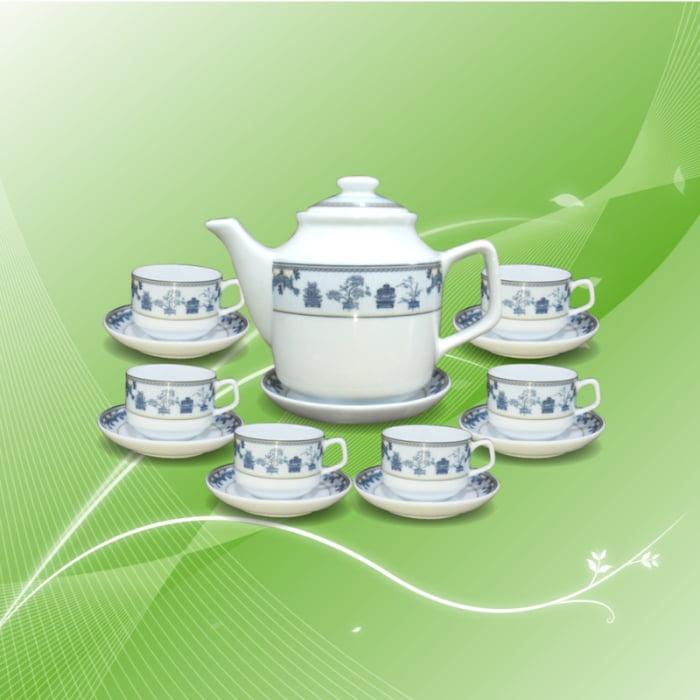 Bộ trà gốm sứ Bát Tràng tứ quý
