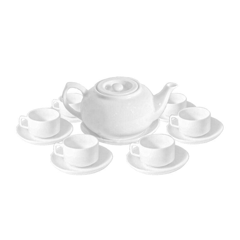 Bộ ấm trà sứ trắng Minh Châu tròn lõm